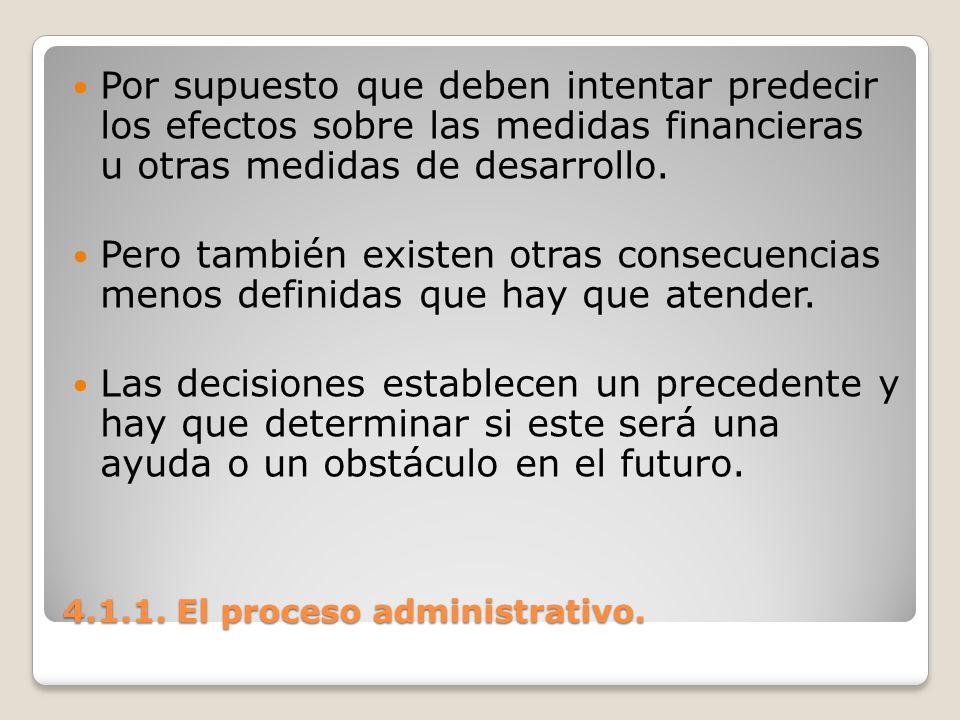 4.1.1. El proceso administrativo. Por supuesto que deben intentar predecir los efectos sobre las medidas financieras u otras medidas de desarrollo. Pe