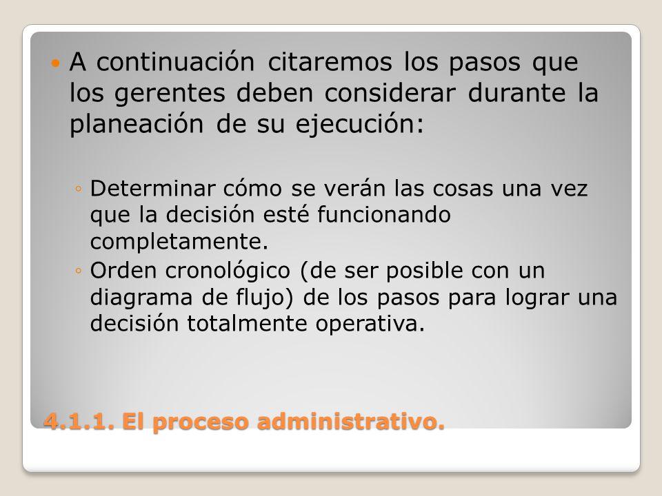 4.1.1. El proceso administrativo. A continuación citaremos los pasos que los gerentes deben considerar durante la planeación de su ejecución: Determin