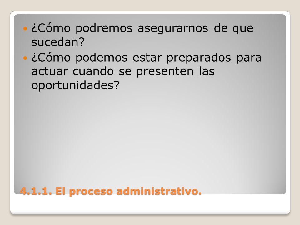 4.1.1. El proceso administrativo. ¿Cómo podremos asegurarnos de que sucedan? ¿Cómo podemos estar preparados para actuar cuando se presenten las oportu