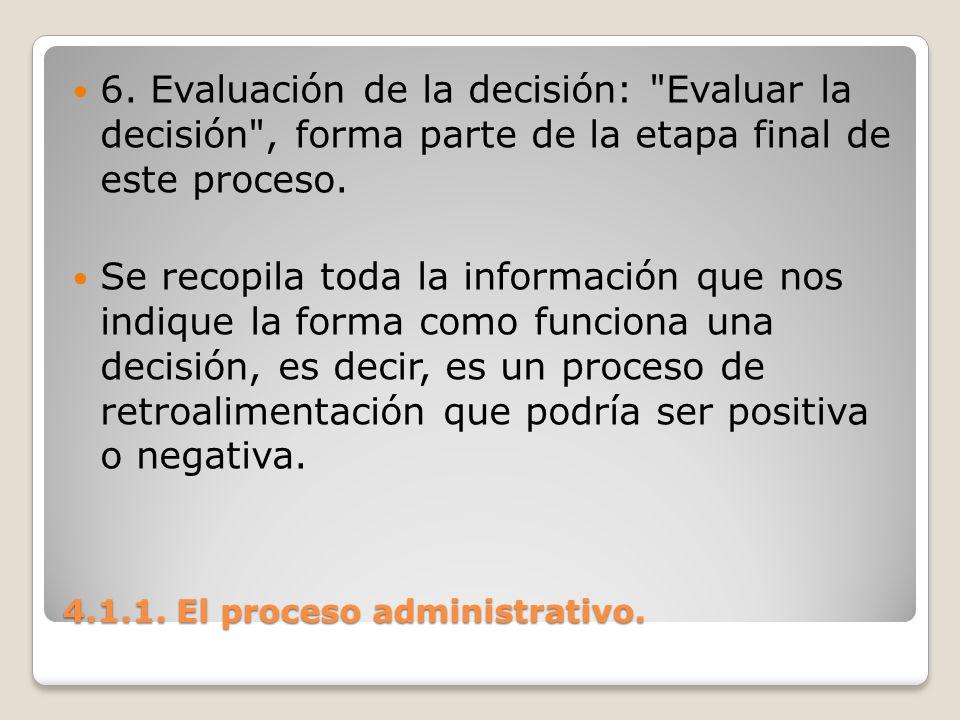 4.1.1. El proceso administrativo. 6. Evaluación de la decisión: