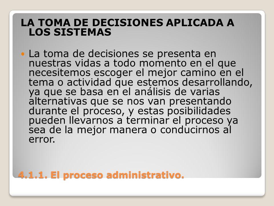4.1.1. El proceso administrativo. LA TOMA DE DECISIONES APLICADA A LOS SISTEMAS La toma de decisiones se presenta en nuestras vidas a todo momento en