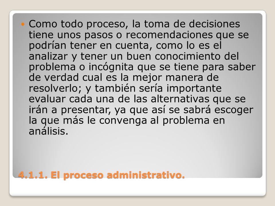 4.1.1. El proceso administrativo. Como todo proceso, la toma de decisiones tiene unos pasos o recomendaciones que se podrían tener en cuenta, como lo