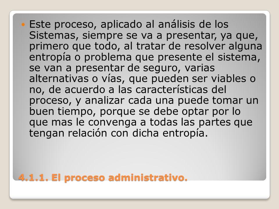 4.1.1. El proceso administrativo. Este proceso, aplicado al análisis de los Sistemas, siempre se va a presentar, ya que, primero que todo, al tratar d
