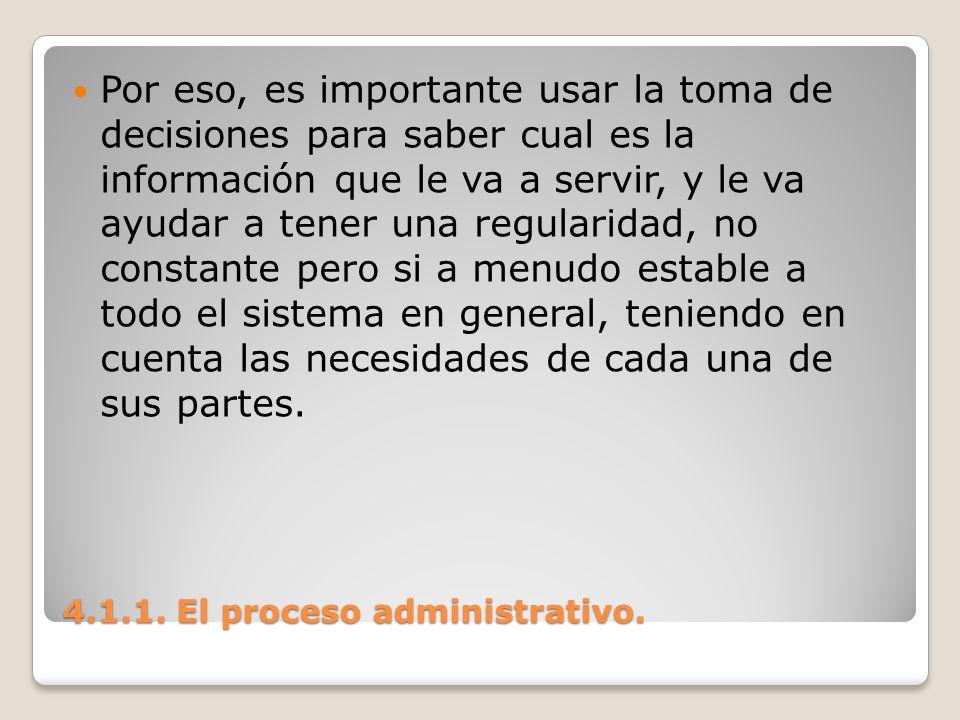4.1.1. El proceso administrativo. Por eso, es importante usar la toma de decisiones para saber cual es la información que le va a servir, y le va ayud