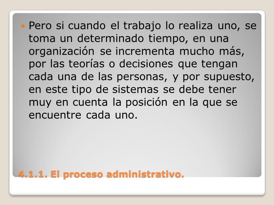 4.1.1. El proceso administrativo. Pero si cuando el trabajo lo realiza uno, se toma un determinado tiempo, en una organización se incrementa mucho más
