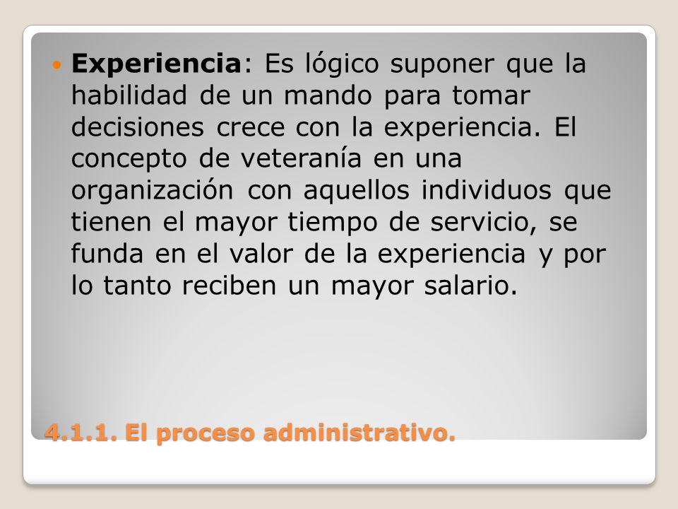 4.1.1. El proceso administrativo. Experiencia: Es lógico suponer que la habilidad de un mando para tomar decisiones crece con la experiencia. El conce