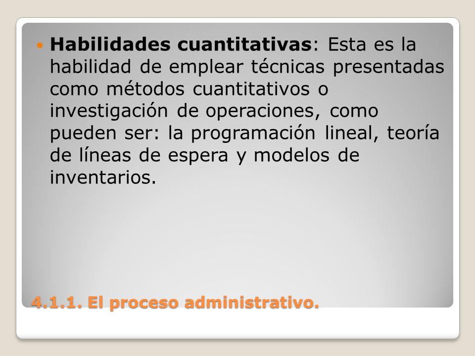 4.1.1. El proceso administrativo. Habilidades cuantitativas: Esta es la habilidad de emplear técnicas presentadas como métodos cuantitativos o investi