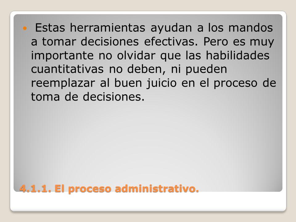 4.1.1. El proceso administrativo. Estas herramientas ayudan a los mandos a tomar decisiones efectivas. Pero es muy importante no olvidar que las habil