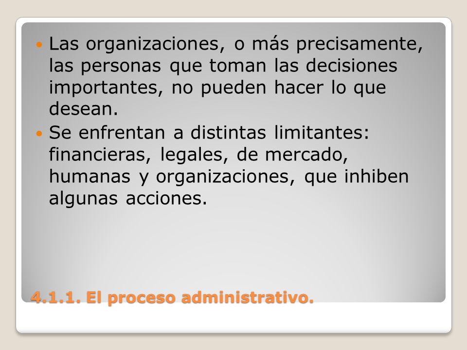4.1.1. El proceso administrativo. Las organizaciones, o más precisamente, las personas que toman las decisiones importantes, no pueden hacer lo que de