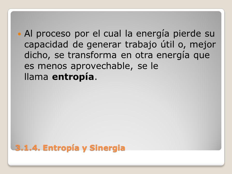 3.1.4. Entropía y Sinergia Al proceso por el cual la energía pierde su capacidad de generar trabajo útil o, mejor dicho, se transforma en otra energía