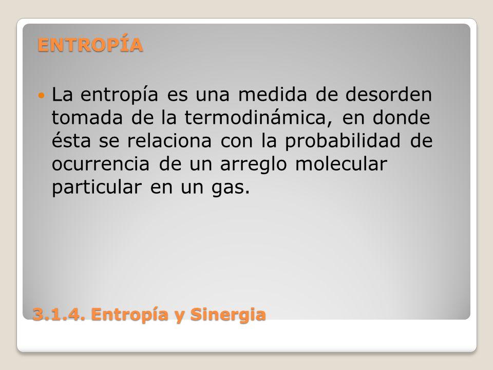 3.1.4. Entropía y Sinergia ENTROPÍA La entropía es una medida de desorden tomada de la termodinámica, en donde ésta se relaciona con la probabilidad d