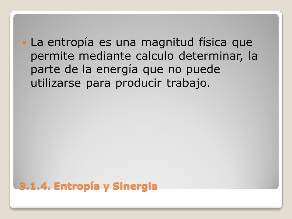 3.1.4. Entropía y Sinergia La entropía es una magnitud física que permite mediante calculo determinar, la parte de la energía que no puede utilizarse