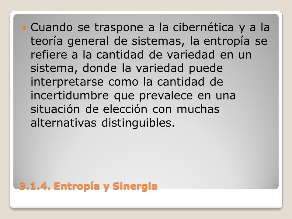 3.1.4. Entropía y Sinergia Cuando se traspone a la cibernética y a la teoría general de sistemas, la entropía se refiere a la cantidad de variedad en