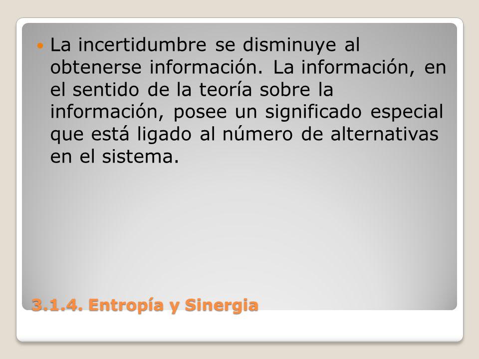 3.1.4. Entropía y Sinergia La incertidumbre se disminuye al obtenerse información. La información, en el sentido de la teoría sobre la información, po