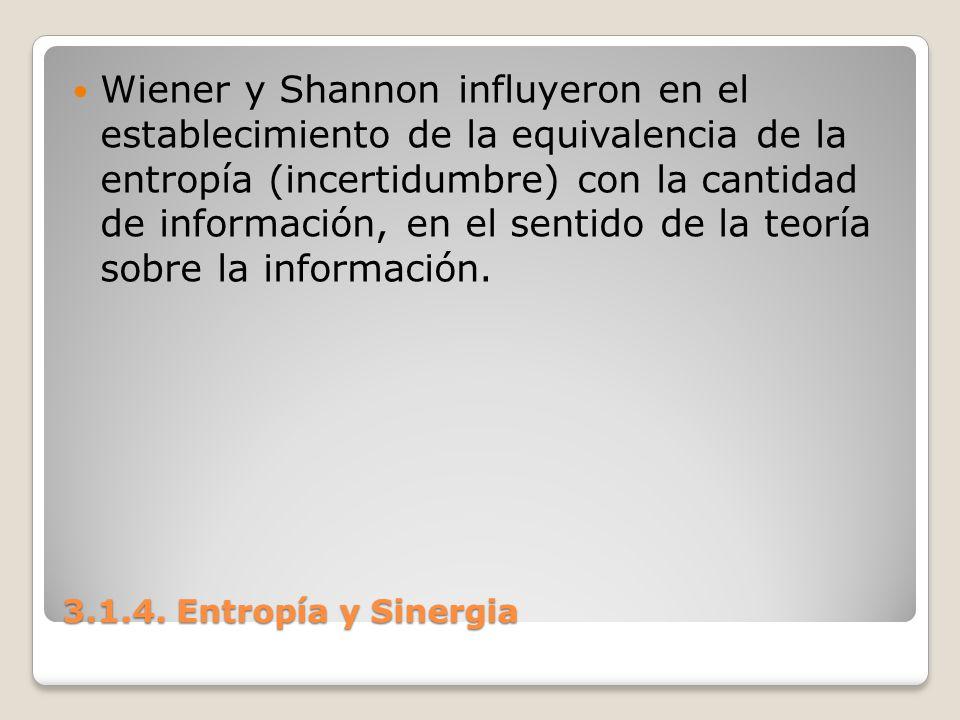 3.1.4. Entropía y Sinergia Wiener y Shannon influyeron en el establecimiento de la equivalencia de la entropía (incertidumbre) con la cantidad de info