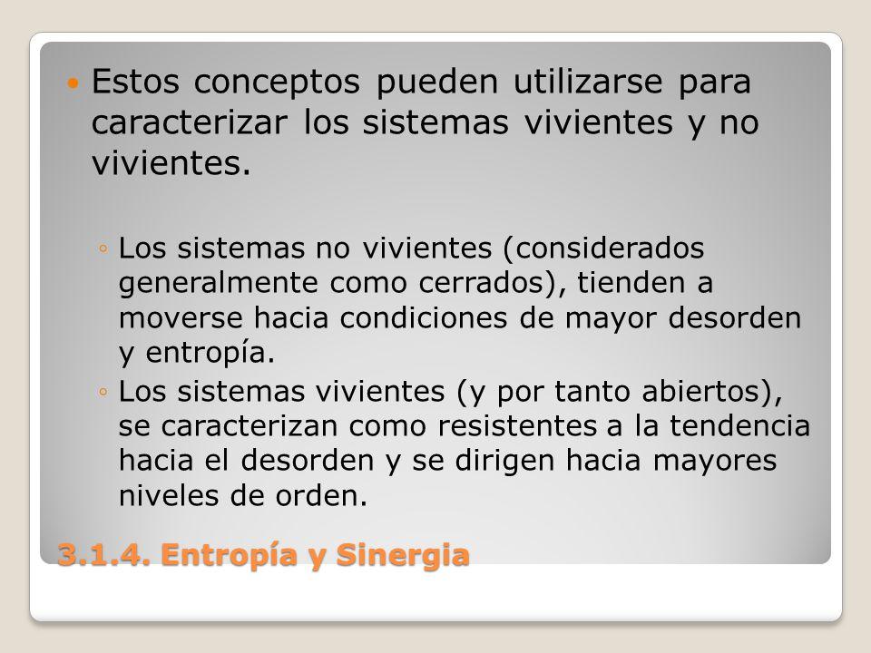 3.1.4. Entropía y Sinergia Estos conceptos pueden utilizarse para caracterizar los sistemas vivientes y no vivientes. Los sistemas no vivientes (consi