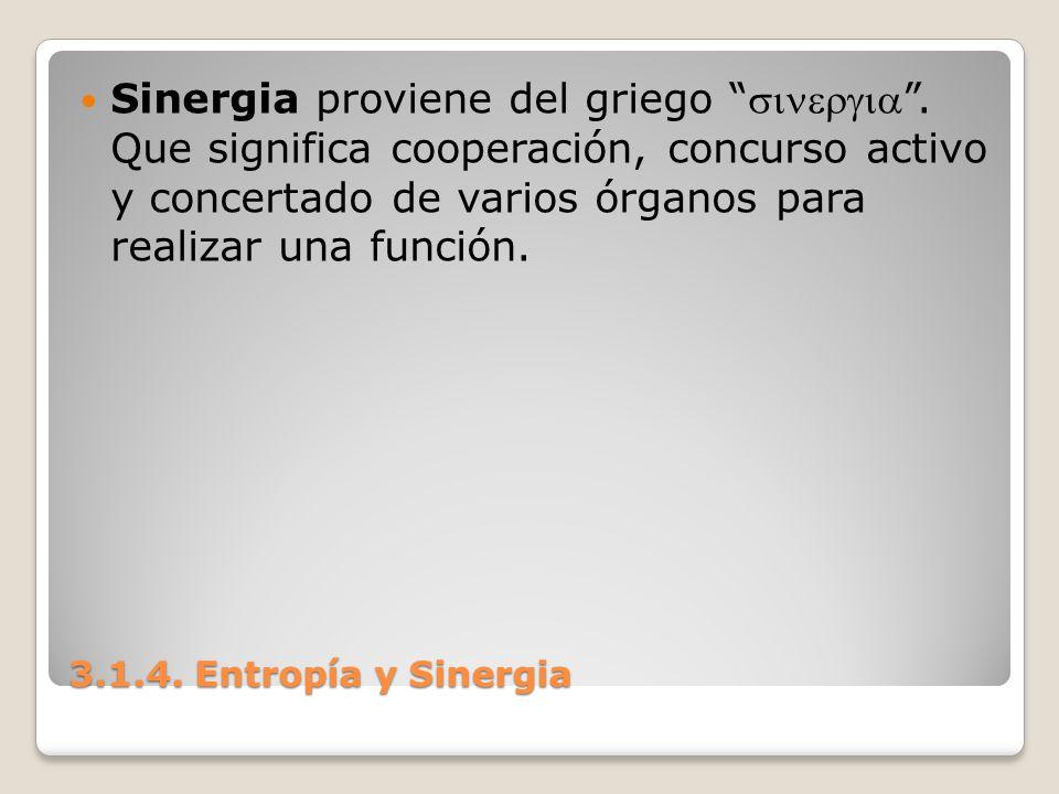 3.1.4. Entropía y Sinergia Sinergia proviene del griego. Que significa cooperación, concurso activo y concertado de varios órganos para realizar una f