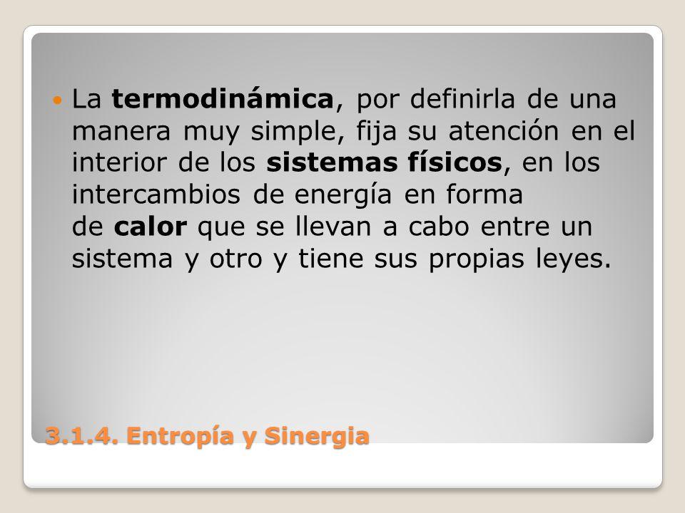3.1.4. Entropía y Sinergia La termodinámica, por definirla de una manera muy simple, fija su atención en el interior de los sistemas físicos, en los i
