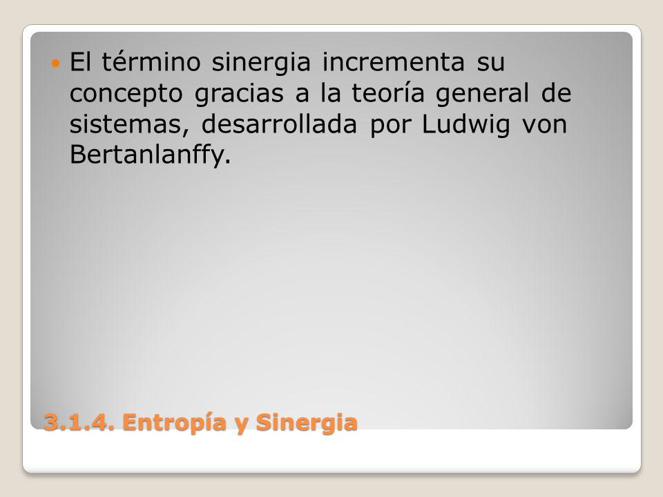 3.1.4. Entropía y Sinergia El término sinergia incrementa su concepto gracias a la teoría general de sistemas, desarrollada por Ludwig von Bertanlanff