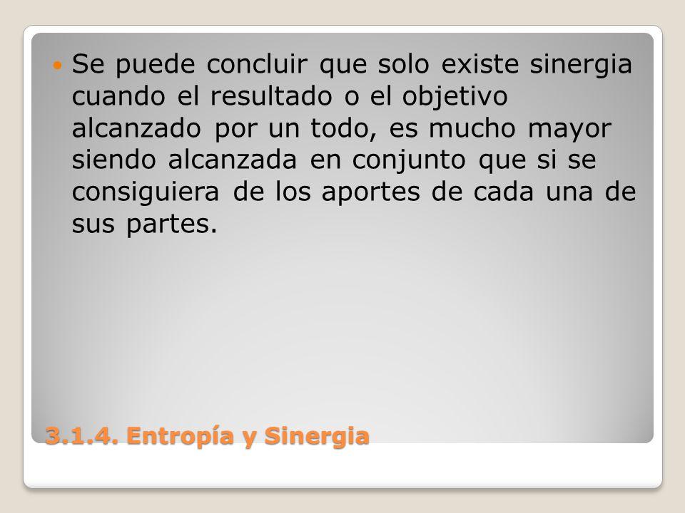 3.1.4. Entropía y Sinergia Se puede concluir que solo existe sinergia cuando el resultado o el objetivo alcanzado por un todo, es mucho mayor siendo a