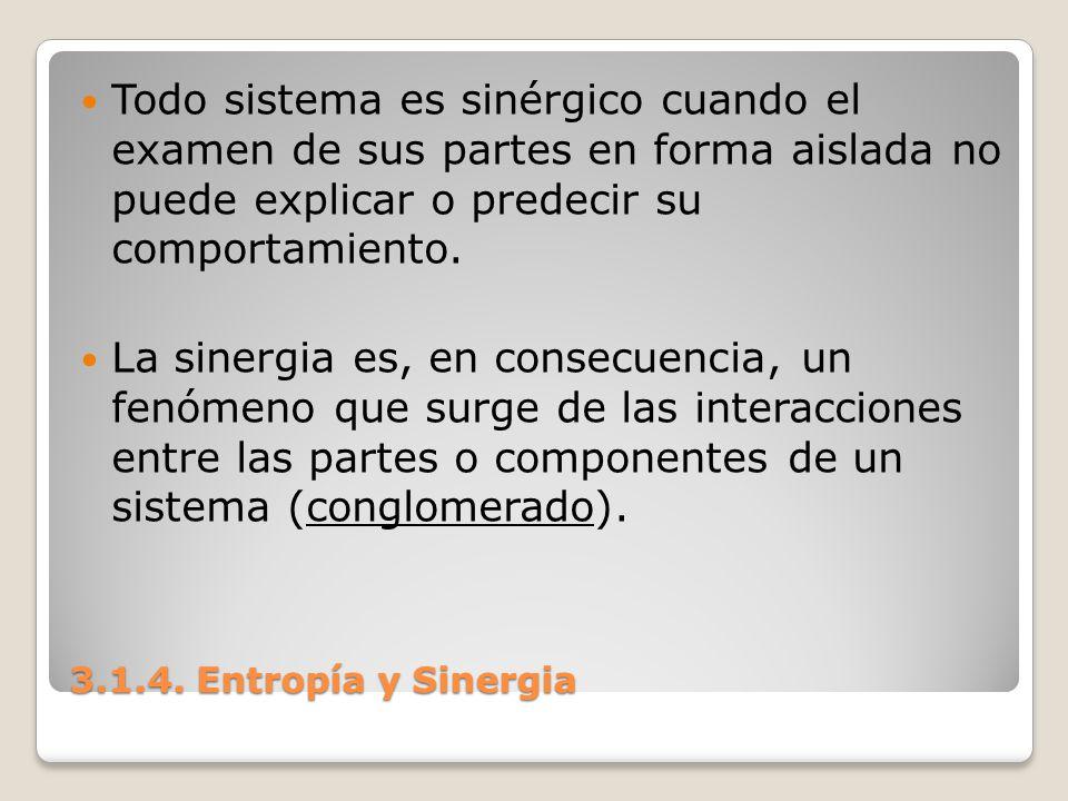 3.1.4. Entropía y Sinergia Todo sistema es sinérgico cuando el examen de sus partes en forma aislada no puede explicar o predecir su comportamiento. L