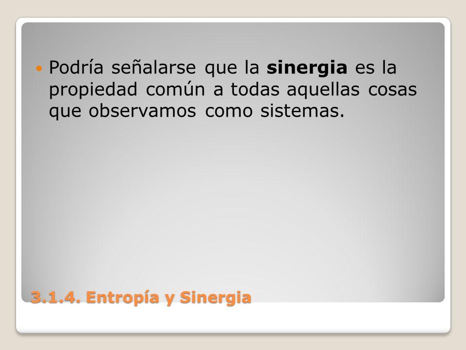 3.1.4. Entropía y Sinergia Podría señalarse que la sinergia es la propiedad común a todas aquellas cosas que observamos como sistemas.