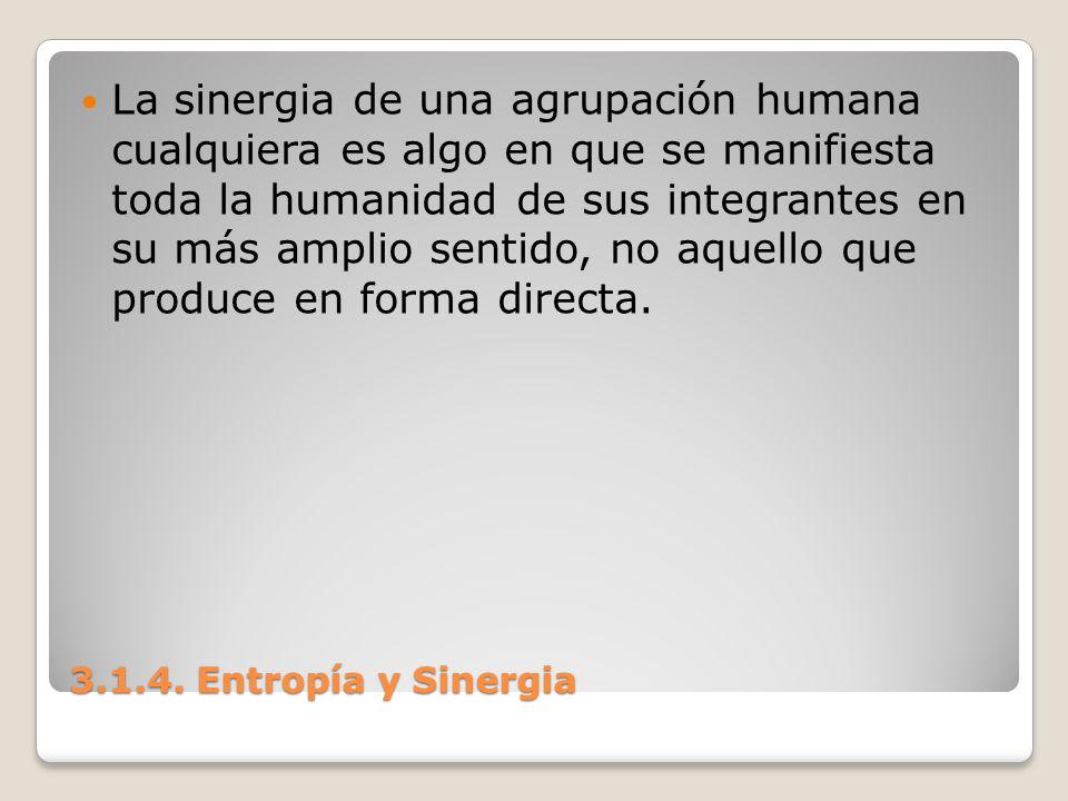 3.1.4. Entropía y Sinergia La sinergia de una agrupación humana cualquiera es algo en que se manifiesta toda la humanidad de sus integrantes en su más
