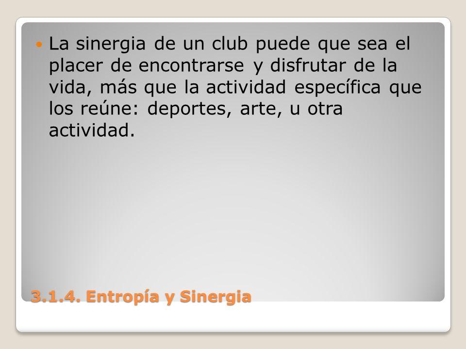 3.1.4. Entropía y Sinergia La sinergia de un club puede que sea el placer de encontrarse y disfrutar de la vida, más que la actividad específica que l