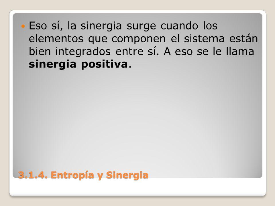 3.1.4. Entropía y Sinergia Eso sí, la sinergia surge cuando los elementos que componen el sistema están bien integrados entre sí. A eso se le llama si