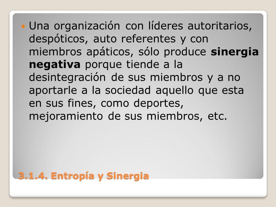 3.1.4. Entropía y Sinergia Una organización con líderes autoritarios, despóticos, auto referentes y con miembros apáticos, sólo produce sinergia negat