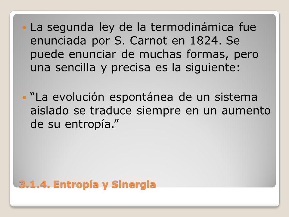3.1.4. Entropía y Sinergia La segunda ley de la termodinámica fue enunciada por S. Carnot en 1824. Se puede enunciar de muchas formas, pero una sencil