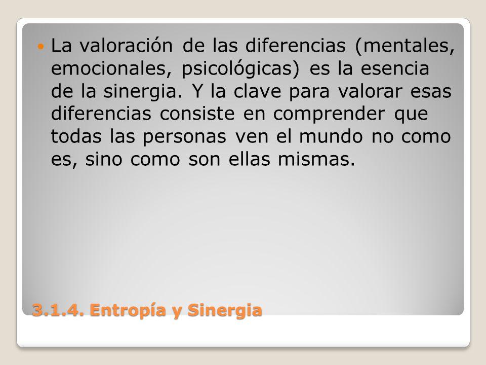 3.1.4. Entropía y Sinergia La valoración de las diferencias (mentales, emocionales, psicológicas) es la esencia de la sinergia. Y la clave para valora