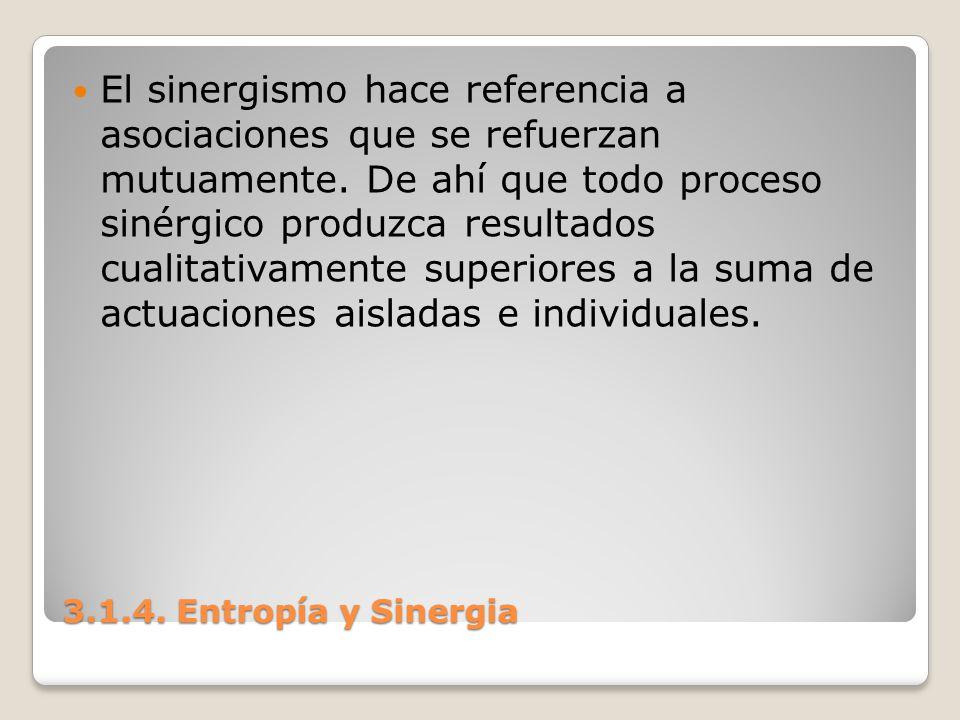 3.1.4. Entropía y Sinergia El sinergismo hace referencia a asociaciones que se refuerzan mutuamente. De ahí que todo proceso sinérgico produzca result