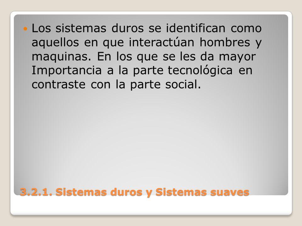 3.2.1. Sistemas duros y Sistemas suaves Los sistemas duros se identifican como aquellos en que interactúan hombres y maquinas. En los que se les da ma