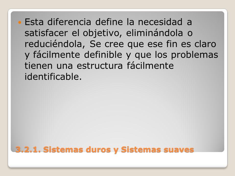 3.2.1. Sistemas duros y Sistemas suaves Esta diferencia define la necesidad a satisfacer el objetivo, eliminándola o reduciéndola, Se cree que ese fin