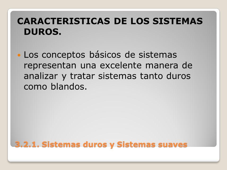 3.2.1. Sistemas duros y Sistemas suaves CARACTERISTICAS DE LOS SISTEMAS DUROS. Los conceptos básicos de sistemas representan una excelente manera de a