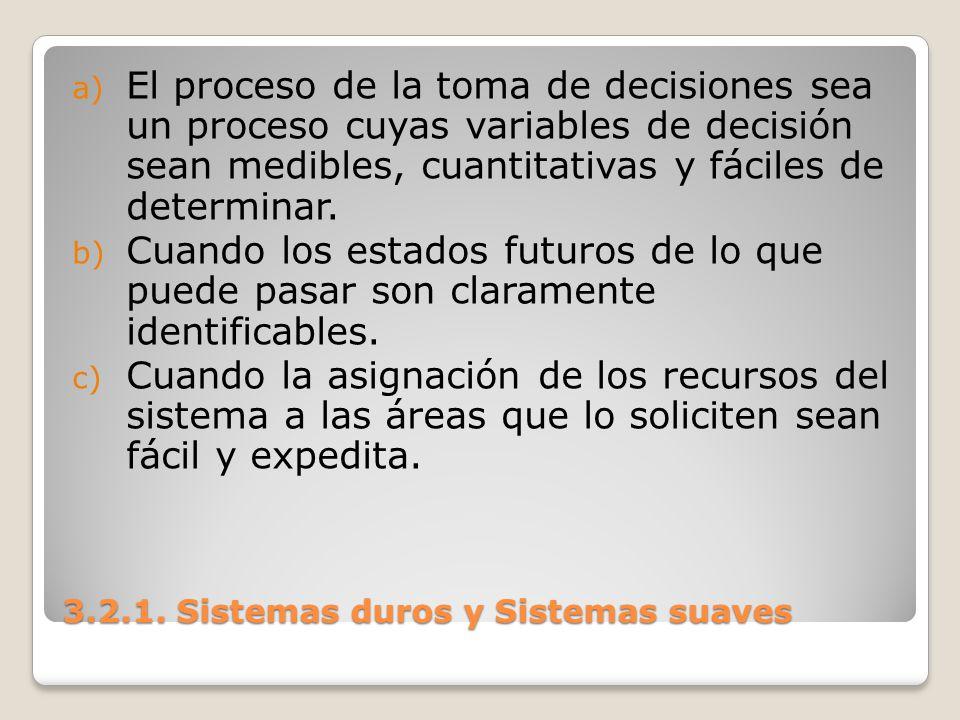 3.2.1. Sistemas duros y Sistemas suaves a) El proceso de la toma de decisiones sea un proceso cuyas variables de decisión sean medibles, cuantitativas