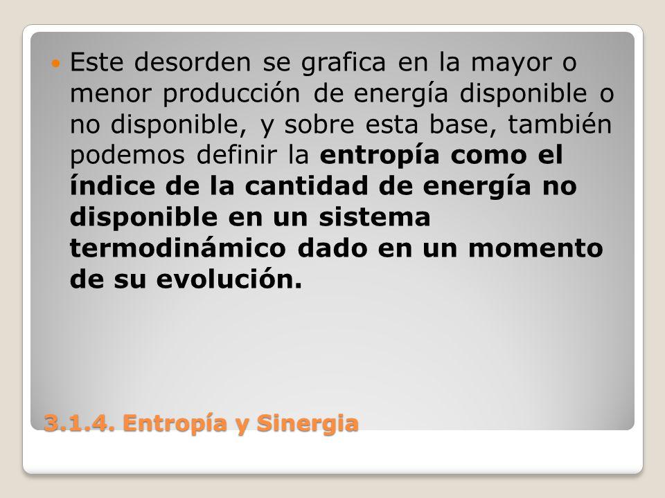 3.1.4. Entropía y Sinergia Este desorden se grafica en la mayor o menor producción de energía disponible o no disponible, y sobre esta base, también p
