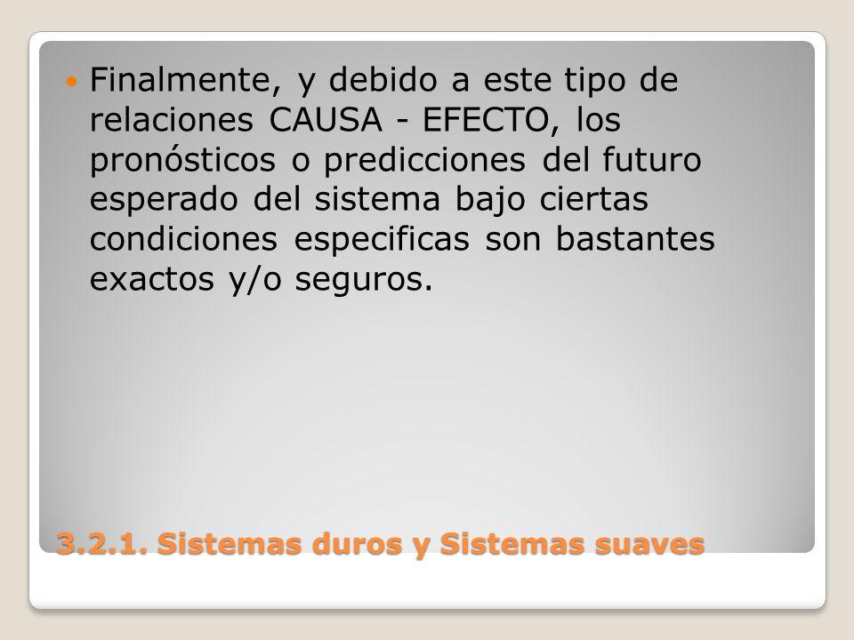 3.2.1. Sistemas duros y Sistemas suaves Finalmente, y debido a este tipo de relaciones CAUSA - EFECTO, los pronósticos o predicciones del futuro esper