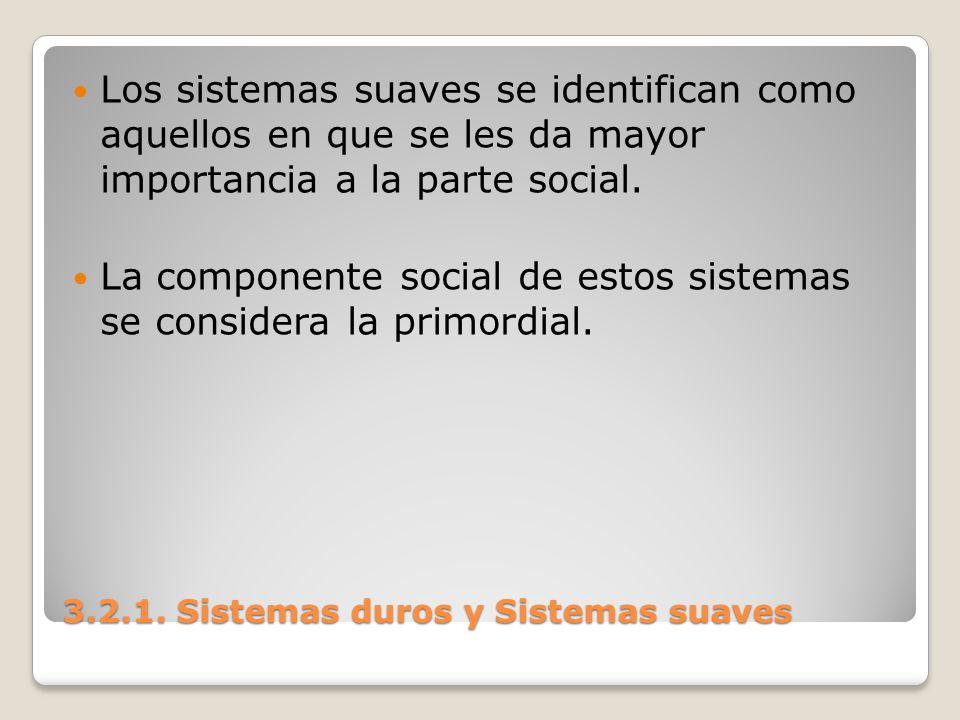 3.2.1. Sistemas duros y Sistemas suaves Los sistemas suaves se identifican como aquellos en que se les da mayor importancia a la parte social. La comp