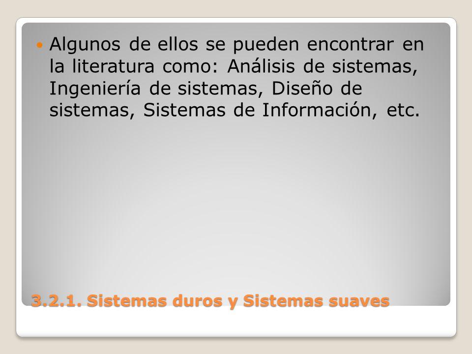 3.2.1. Sistemas duros y Sistemas suaves Algunos de ellos se pueden encontrar en la literatura como: Análisis de sistemas, Ingeniería de sistemas, Dise