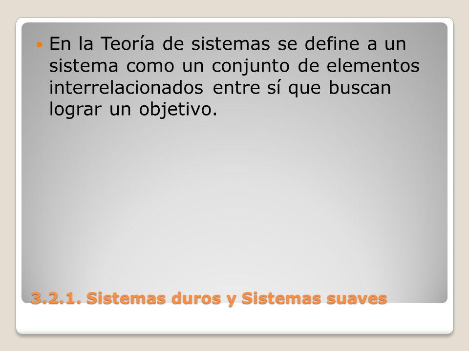 3.2.1. Sistemas duros y Sistemas suaves En la Teoría de sistemas se define a un sistema como un conjunto de elementos interrelacionados entre sí que b