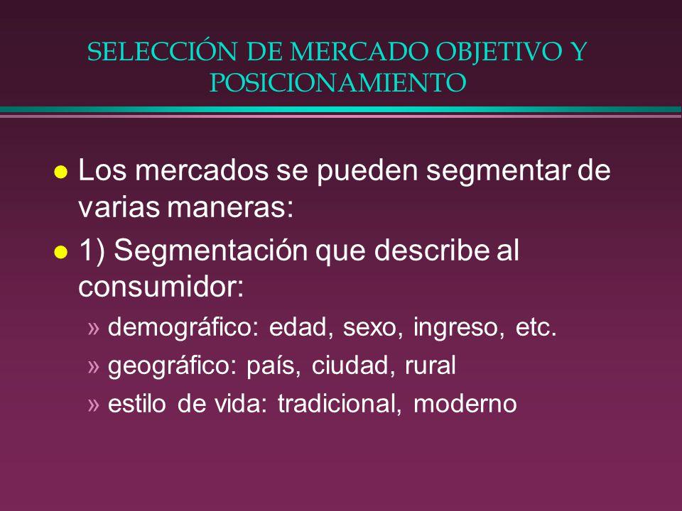 SELECCIÓN DE MERCADO OBJETIVO Y POSICIONAMIENTO l Los mercados se pueden segmentar de varias maneras: l 1) Segmentación que describe al consumidor: »d