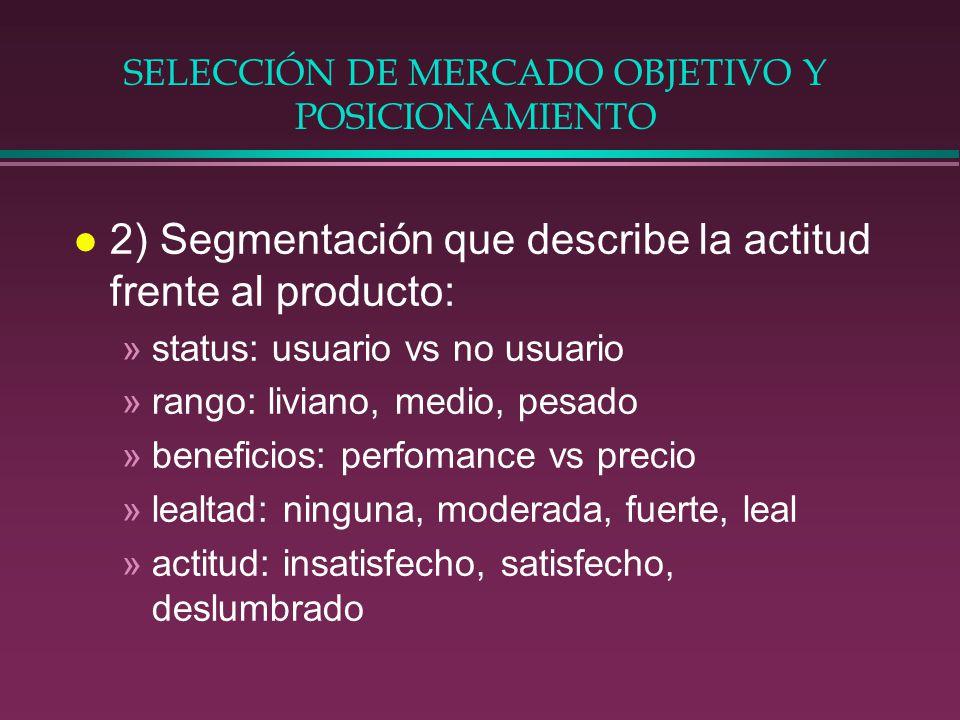 SELECCIÓN DE MERCADO OBJETIVO Y POSICIONAMIENTO l 2) Segmentación que describe la actitud frente al producto: »status: usuario vs no usuario »rango: l