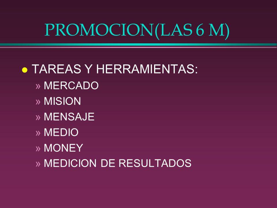 PROMOCION(LAS 6 M) l TAREAS Y HERRAMIENTAS: »MERCADO »MISION »MENSAJE »MEDIO »MONEY »MEDICION DE RESULTADOS