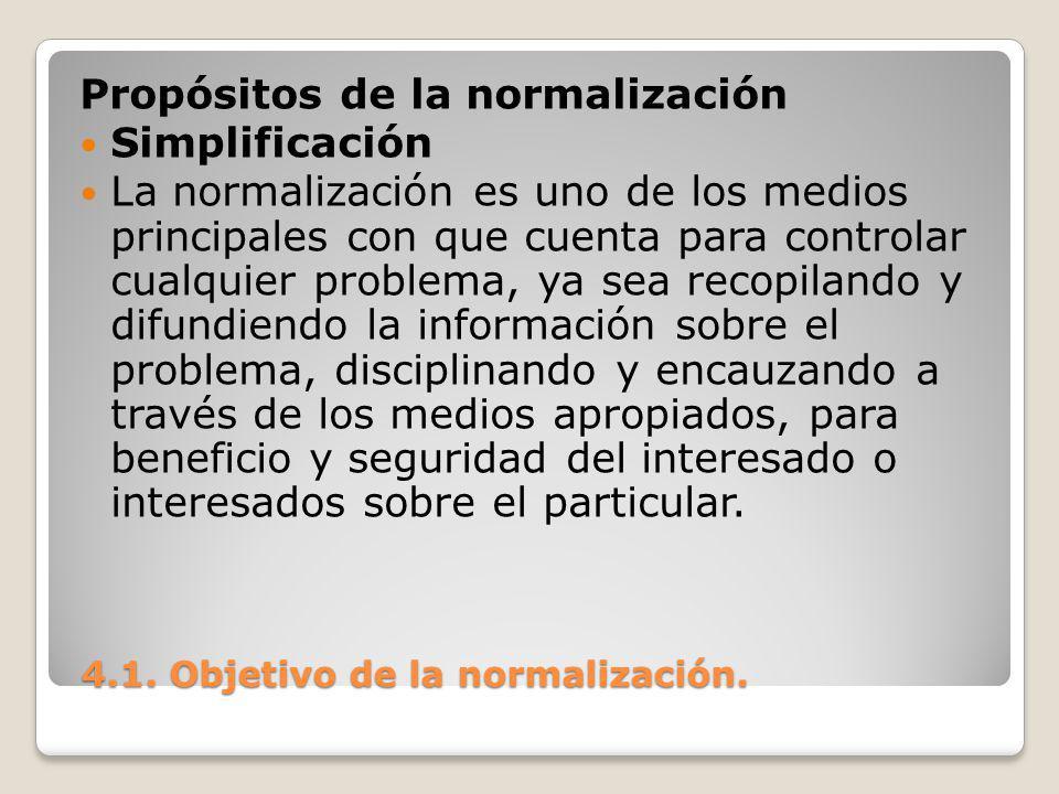 4.1.Objetivo de la normalización. 4.1. Objetivo de la normalización.