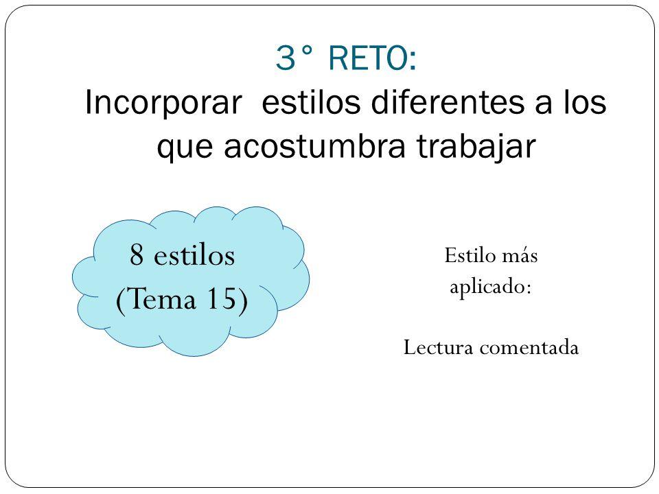 3° RETO: Incorporar estilos diferentes a los que acostumbra trabajar 8 estilos (Tema 15) Estilo más aplicado: Lectura comentada