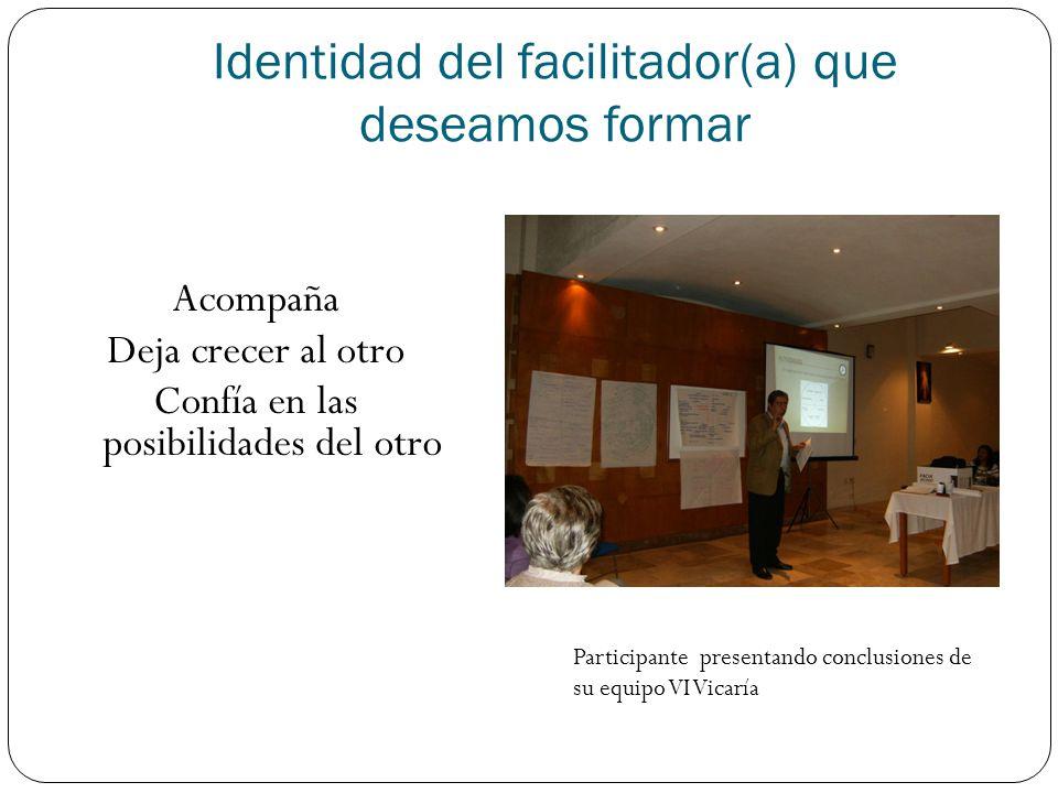 Identidad del facilitador(a) que deseamos formar Acompaña Deja crecer al otro Confía en las posibilidades del otro Participante presentando conclusion