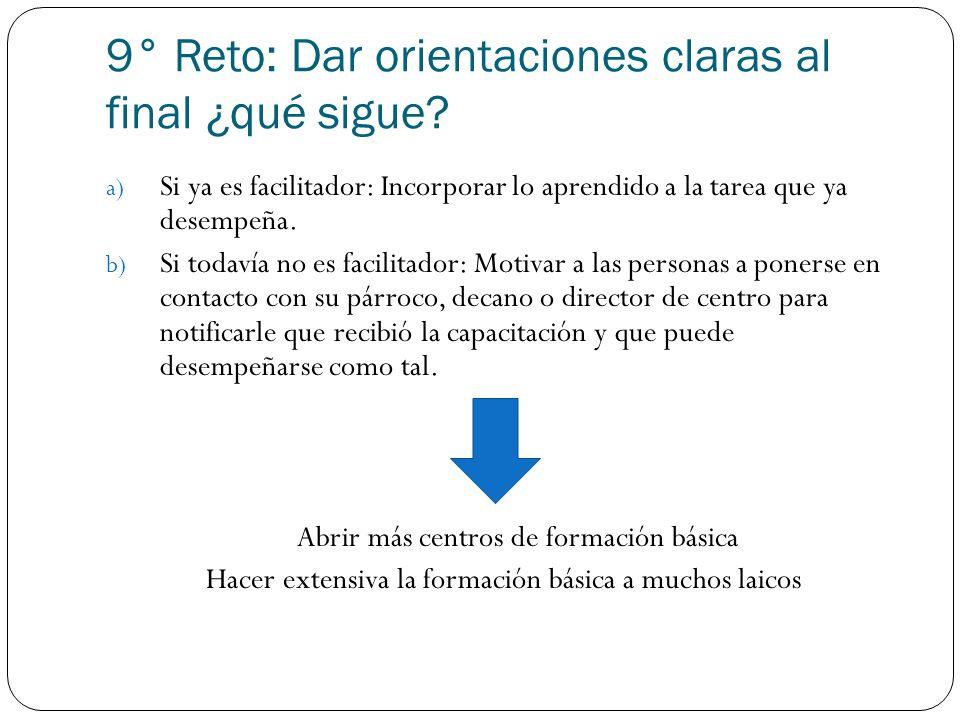 9° Reto: Dar orientaciones claras al final ¿qué sigue? a) Si ya es facilitador: Incorporar lo aprendido a la tarea que ya desempeña. b) Si todavía no