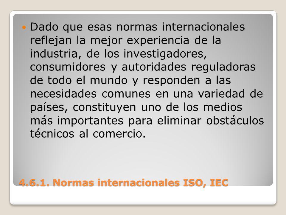 4.6.1. Normas internacionales ISO, IEC Dado que esas normas internacionales reflejan la mejor experiencia de la industria, de los investigadores, cons